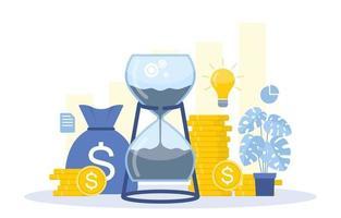 Illustration von Zeitmanagement- und Geschäftsstrategieelementen