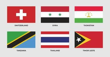 Flagge der Schweiz, Syriens, Tadschikistans, Tansanias, Thailands, Timor Leste setzen vektor