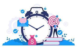 Geschäftsmann, der über Zeitmanagement und Illustration der Geschäftsstrategie nachdenkt