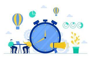 Geschäftsleute, die über Zeitmanagement und Illustration der Geschäftsstrategie sprechen vektor