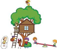 trädhus med många barn som gör olika aktiviteter