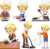Satz eines Jungen, der verschiedene Hausarbeiten macht vektor