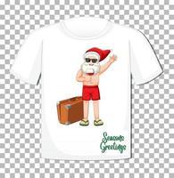 jultomten i sommardräkt seriefigur på t-shirt isolerad på transparent bakgrund