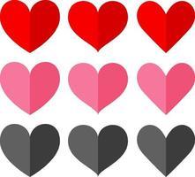 uppsättning av olika former och hjärtans färg
