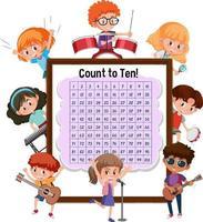 Zählnummer 1-100 Tafel mit vielen Kindern, die verschiedene Aktivitäten ausführen vektor