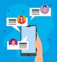 sociala medier, smartphone med grupp människor som chattar