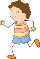 niedlicher Junge Zeichentrickfigur im Gekritzelstil isoliert vektor