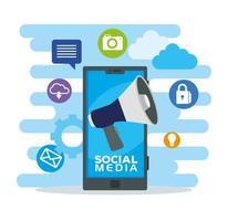 Social-Media-Symbole und Smartphone-Gerät
