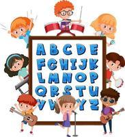 az alfabetstavla med många barn som gör olika aktiviteter vektor