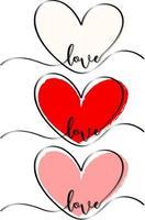 uppsättning av olika hjärtklapp handritad