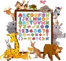 alfabetet az och matematiska symboler på en tavla med vilda djur