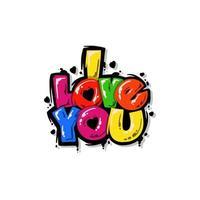 jag älskar dig textvektor. typografi för jag älskar dig. bra för inbjudan eller klistermärke vektor