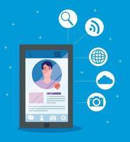 sociala medier, man kommunicerar via smartphone
