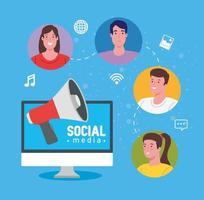 Social Media, Menschen, die über Computer kommunizieren