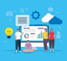 Social Media, Personengruppe mit Computer- und Infografiken berichten vektor