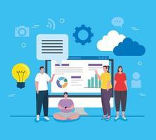 sociala medier, grupp människor med dator- och infografikrapport