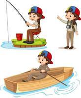 tecknad karaktär av en tjej i campingkläder som gör olika aktiviteter