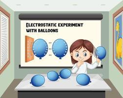 Ein Mädchen macht ein elektrostatisches Experiment mit Luftballons im Raum vektor