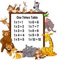 en gång tabell med vilda djur vektor