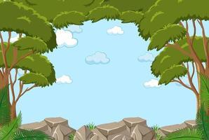 leerer Himmelhintergrund mit vielen Bäumen