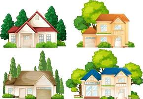 Satz von verschiedenen Arten von Häusern isoliert vektor