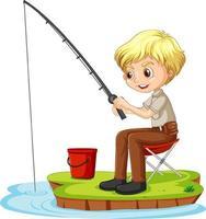 eine Mädchenkarikaturfigur, die auf weißem Hintergrund sitzt und fischt