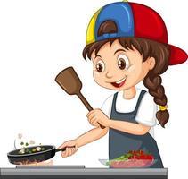 niedliche Mädchenfigur, die Kappe kochendes Essen trägt vektor