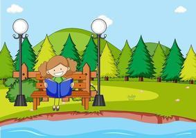 Parkszene mit einem Mädchen, das Buch liest, das auf Bank sitzt vektor