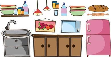 uppsättning kök utrustning doodle tecknad stil på vit bakgrund vektor