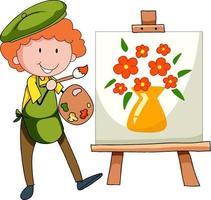 liten konstnär som ritar bilden tecknad karaktär isolerad