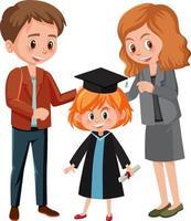 glückliches kleines Mädchen im Abschlusskostüm mit ihren Eltern