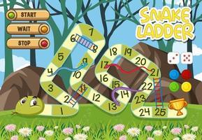 Schlangenleiter Brettspiel für Kinder Vorlage vektor