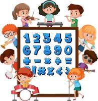 nummer 0 till 9 och matematiska symboler på banderoll med många barn som gör olika aktiviteter vektor