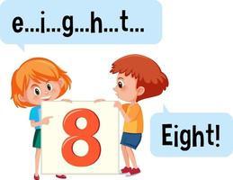 tecknad karaktär av två barn som stavar siffran åtta