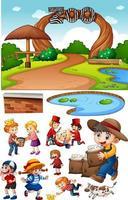 Zooszene mit isolierter Zeichentrickfigur und Objekten