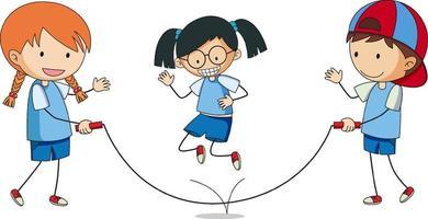 Kinder spielen Springseil Gekritzel Zeichentrickfigur isoliert vektor