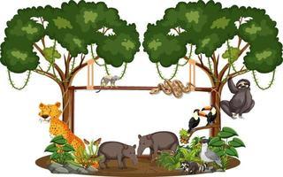 Tom banner med vilda djur och regnskogsträd på vit bakgrund