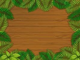 leerer hölzerner Hintergrund mit tropischen Blattelementen