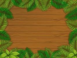 tom träbakgrund med tropiska bladelement