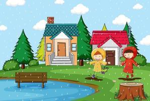 regnig dag med två barn som bär regnrock vektor