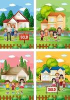 olika scener av familj som står framför ett hus till salu