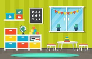 bunter Kindergarten oder Grundschulklassenraum mit Schreibtischen und Spielzeugillustration