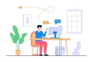 män arbetar hemifrån konceptillustration vektor
