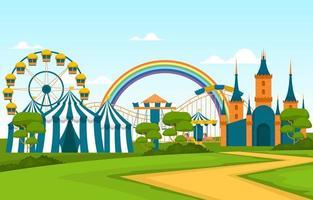 Zirkus und Vergnügungspark mit Riesenradillustration vektor