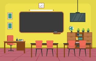 grundskolan klassrum med skrivbord och svarta tavlan illustration