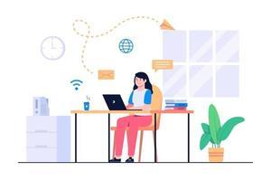 kvinnor arbetar hemifrån konceptillustration vektor