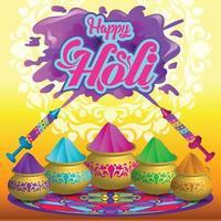 Holi Feierplakat mit Farbpudertöpfen und Wasserpistole vektor