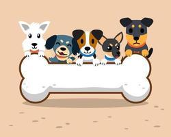 Comic-Hunde und großes Knochenzeichen vektor
