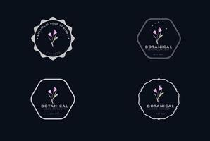 abstrakt minimal modern feminin botanisk blommig organisk logodesign vektor
