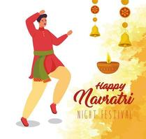 lycklig navratri firande affisch med man dansar vektor